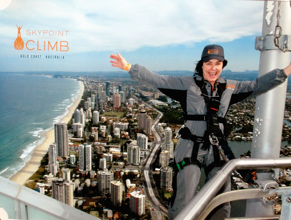 Me - facing my fears on top of Q1 tower on the Gold Coast.