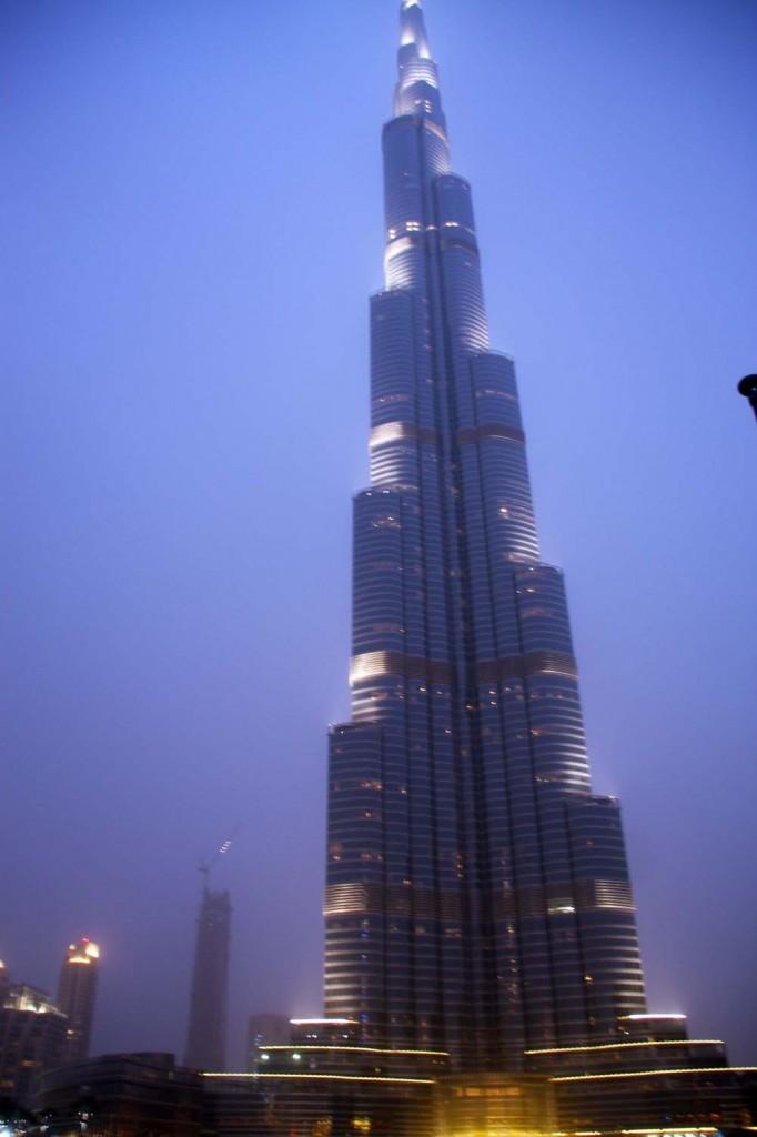 The Burj Khalifa at night.