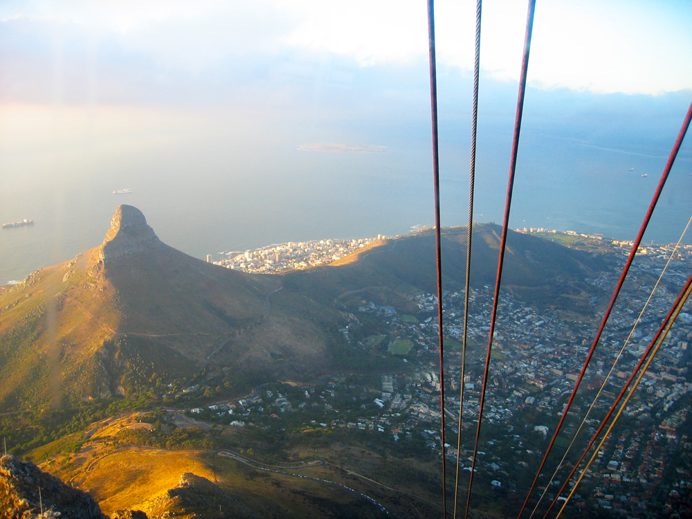 Lion's Head as seen from Table Mountain cable car. Wikimedia Commons.