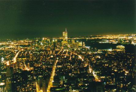 New York at night from the Empire State Building.