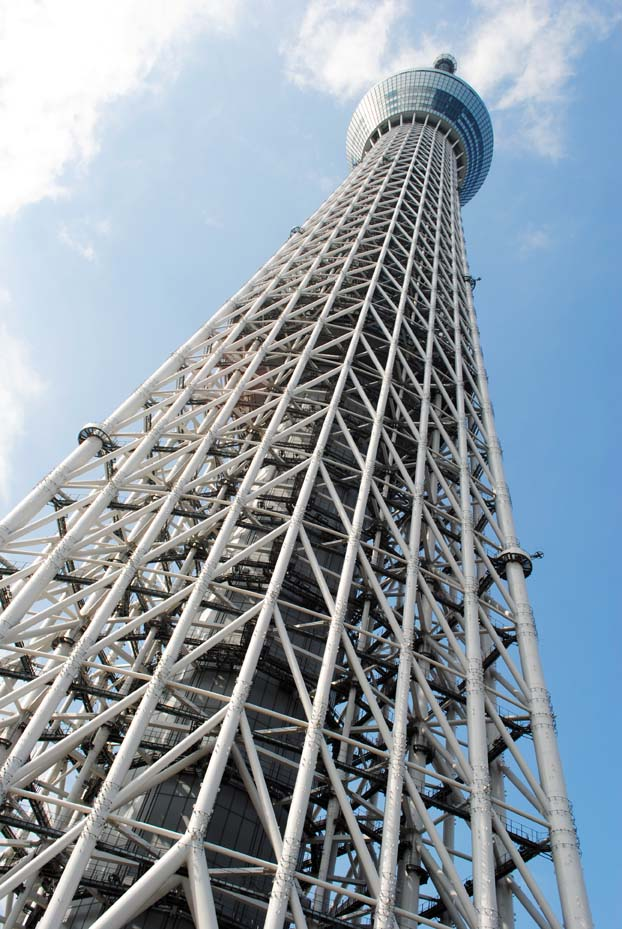 Looking 450m up Tokyo Sky Tree.