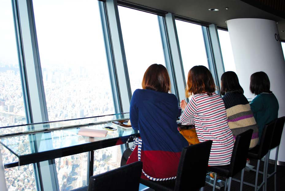 Cafe with a view. Tokyo Sky Tree.