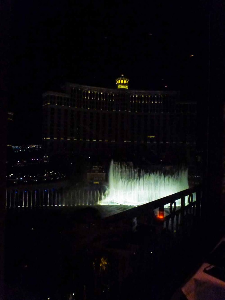 Watching the fountains from Eiffel Tower, Las Vegas.