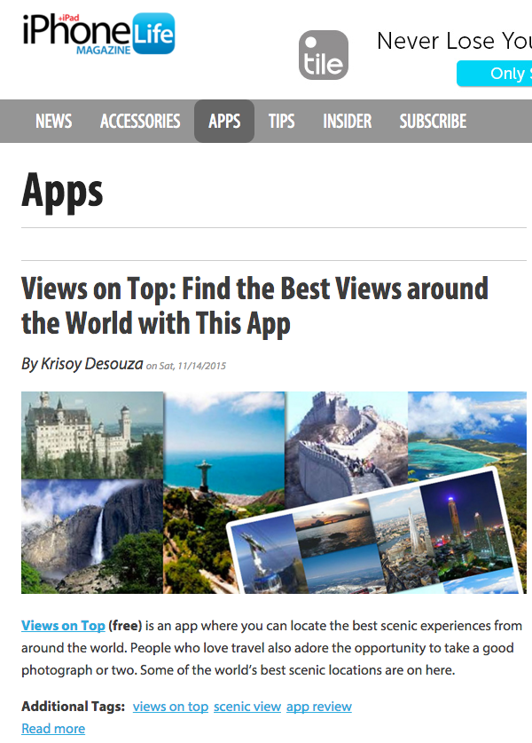 iPhoneLife: find the best views around the world